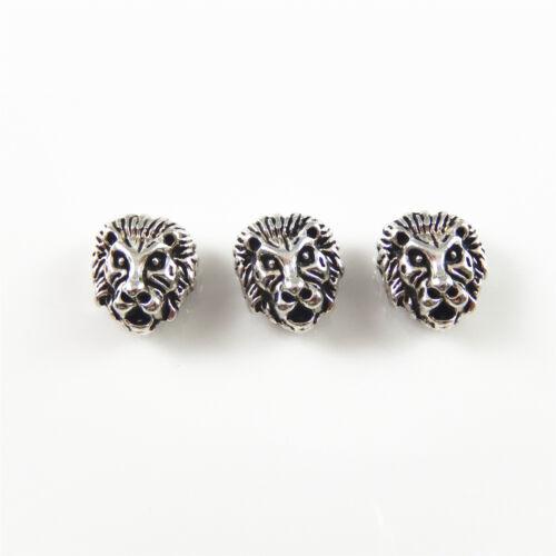 20 pcs Antique Plaqué Argent Lion Artisanat Perles Pour Bijoux Making Trou Taille 2 mm