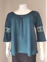 Women's Plus Size Teal Blue 3/4 Flared Sleeve W/ Lace Accent Top Size 1x 2x