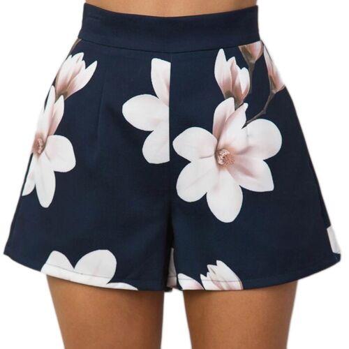 NE/_ Women/'s Fashion Floral Hot Pants Casual Summer High Waist Zipper Shorts He
