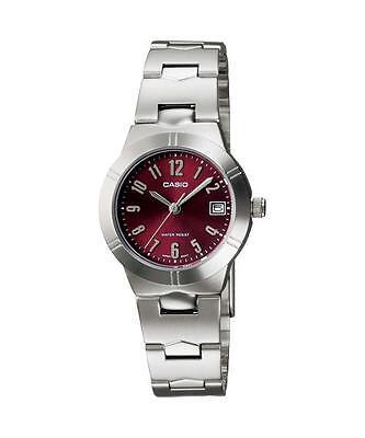 NEW Genuine Casio LTP-1241D-4A2 Red Women's Date Analog Quartz Dress Watch