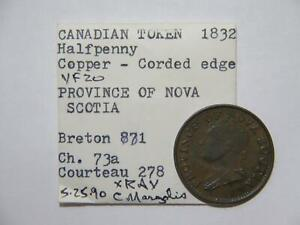 CANADA 1/2 PENNY TOKEN 1832 EX: DONALD G PARTRICK BRETON 871 NOVA SCOTIA 🌈⭐🌈