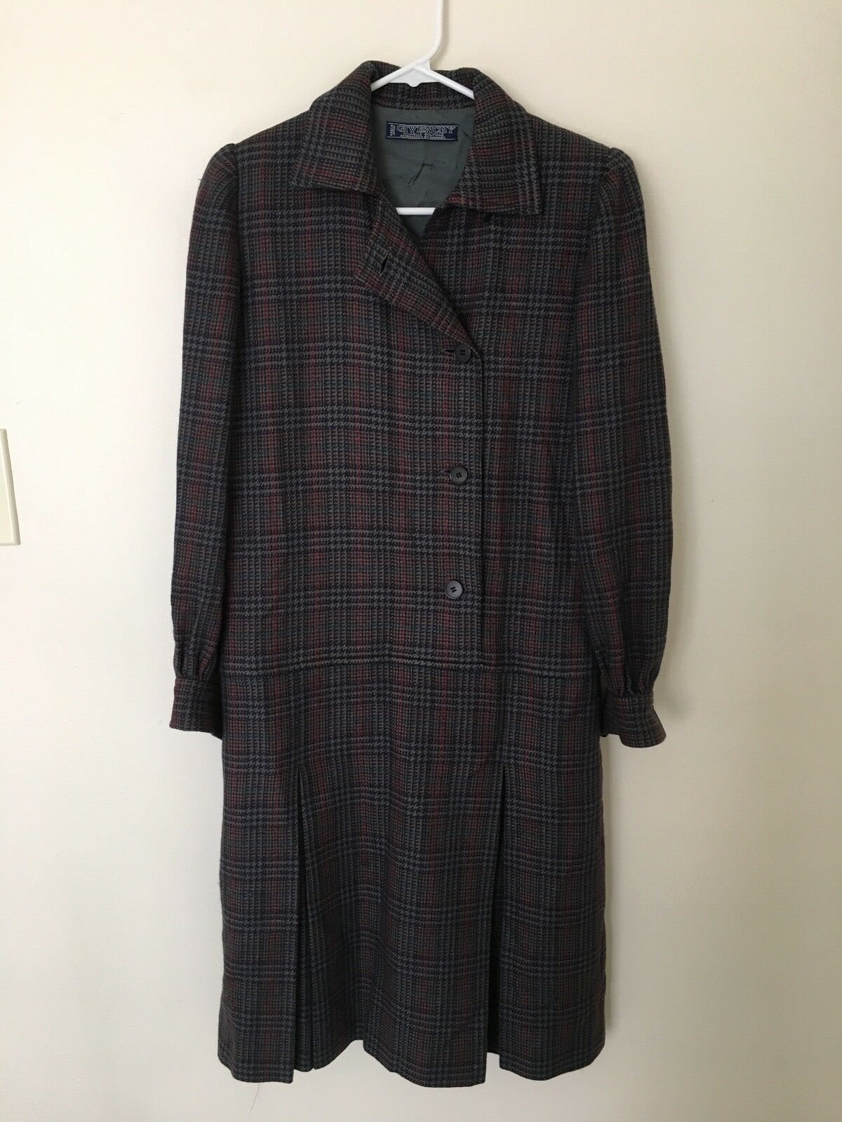 Vintage GIVENCHY Grey Gingham Wool Dress with buttons, Japan Size 8 (M)