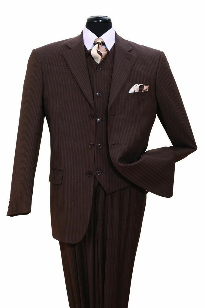 Herren fancy wool feel suit 3 pc w/Vest 3 button striped design Braun/Strip 5802V4