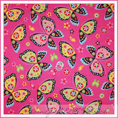 BonEful Fabric Cotton Quilt PINK Black Green Butterfly Flower Small Calico SCRAP