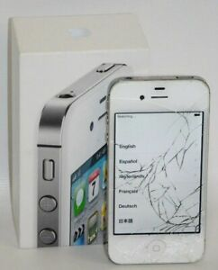 Apple-iPhone-4s-16GB-BROKEN-SCREEN-UNKNOWN-CARRIER-Powers-On-FOR-PARTS-w-Box