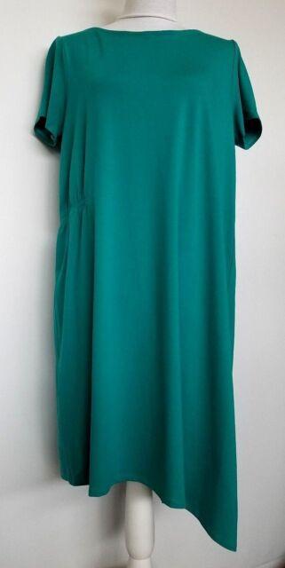 Eileen Fisher Jersey Viscose Asymmetrical Dress Ballet Neck Teal Green L NWT
