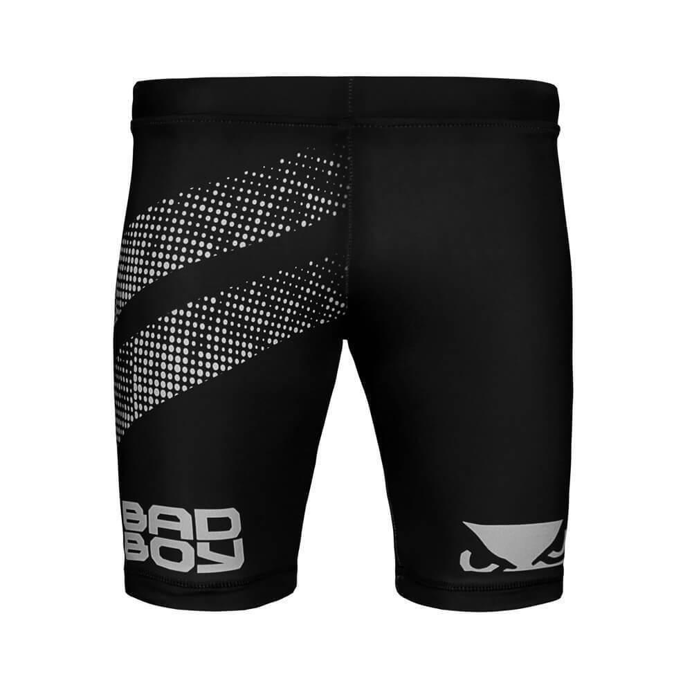 Bad Boy Vale Tudo impatto Lunghe Compressione Pantaloncini Nero argentoo MMA Combattimento Nogi