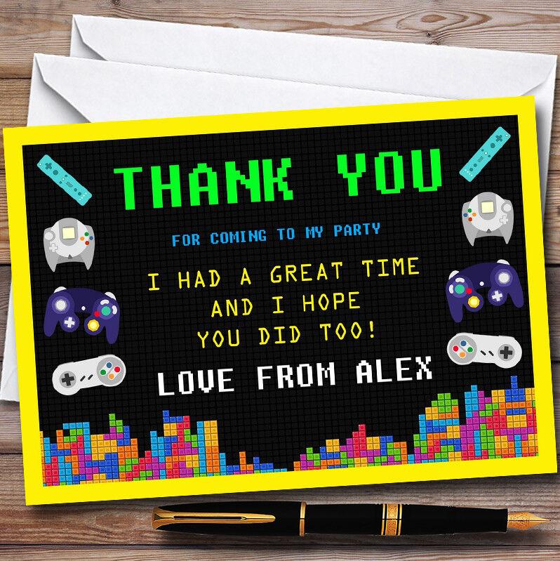 Video Personnalisé Gaming Jaune Personnalisé Video  s Fête D'anniversaire THANK YOU Cartes da76fa