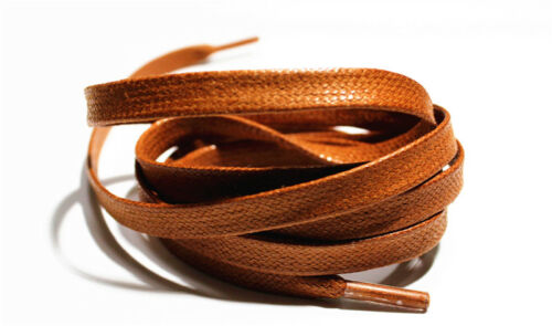 Save $1 Brown Flat Shoelaces runners sneakers 115cm Waxed Cotton Shoe laces