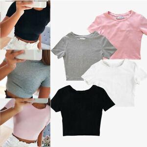Women Crop Tank Top Casual Short Sleeve Blouse T-Shirt Bodycon Yoga Gym Sports