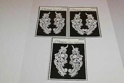 "Embroidered Venice Lace Appliques Pink Floral Venice Lace Mirror Pair 13/"" DH107"