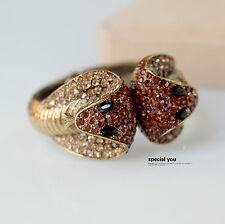 Bracelet Rigid Ouvrable Doré Deux Tete Serpent Reine d'Égypte Ambré Jaune CT7