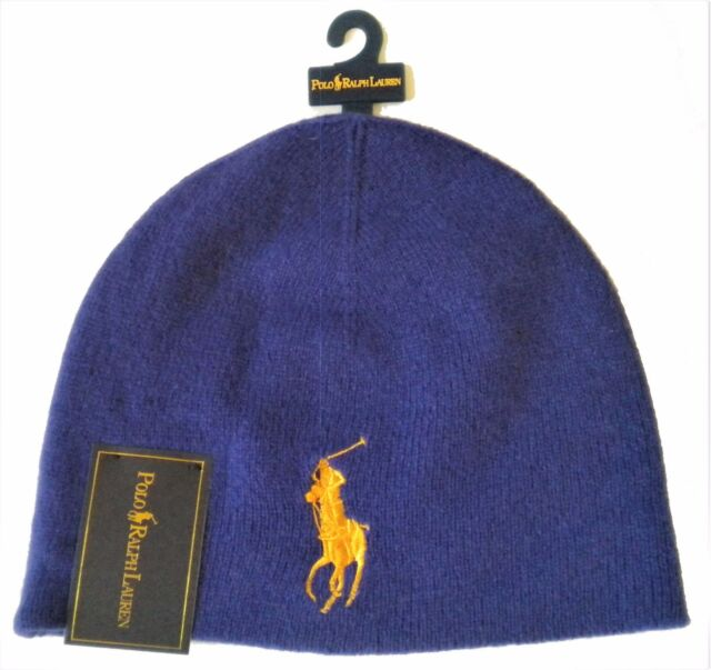 Buy Polo Ralph Lauren Blue Gold Big Pony Hat Beanie Cap 100 Merino ... 6f52fb16f56