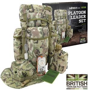 Boys Kids Army Childrens Combat Platoon Leader Outdoor Play Set Pack Rucksack
