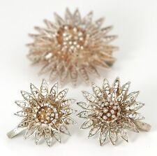 VINTAGE BALINESE SILVER FILIGREE STAR BROOCH & EARRING SET - TESTED SILVER - 70s