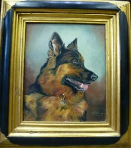 Vintage-Dog-Canine-framed-Oil-Painting-German-Shepherd-Alsatian-signed-Fletcher