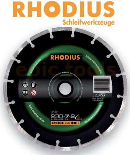"RHODIUS 9/"" 230mm LD40 Universal Masonry Cutting Diamond Laser Welded Blade//Disc"