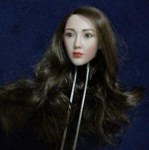 1//6 Scale Head Sculpt Long black Hair Model Fit 12/'/' Female Pale Figure PH Body