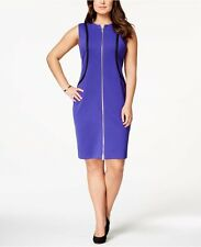 Calvin Klein Dress Woman Sz 20W Byzantine Ponte Front-Zip Career Cocktail Dress