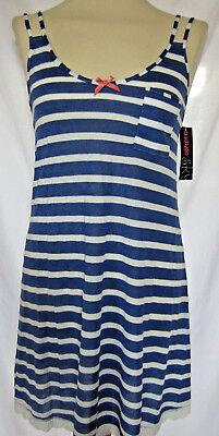 Womens Indigo Sky Chemise Nightie Blue//Cream Stripe