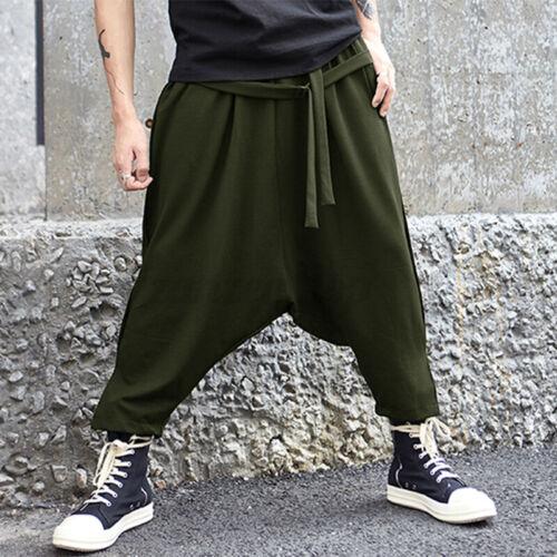 INCERUN Men/'s Harem Pants Hippy Yoga Plain Aladdin Alibaba Baggy Trousers Slacks