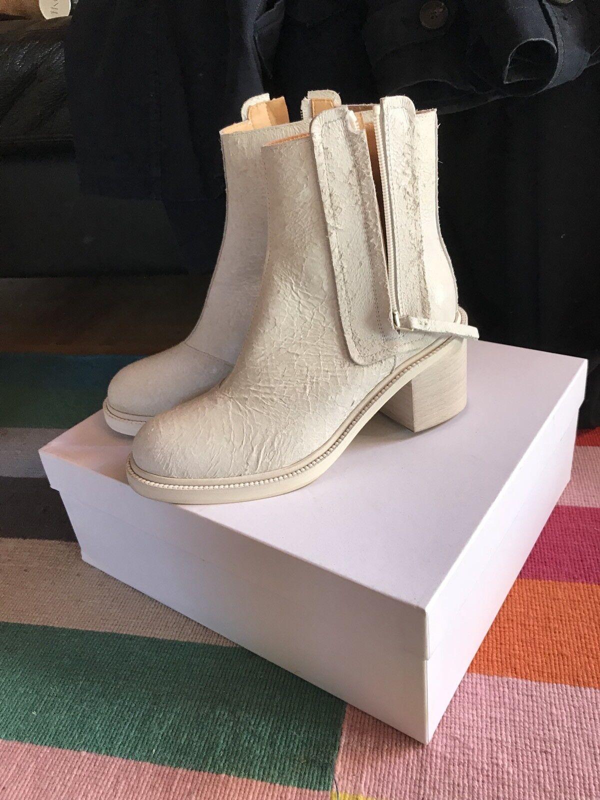 Acne white Stiefeletten Stiefel MM6 NEU ankle leder 37