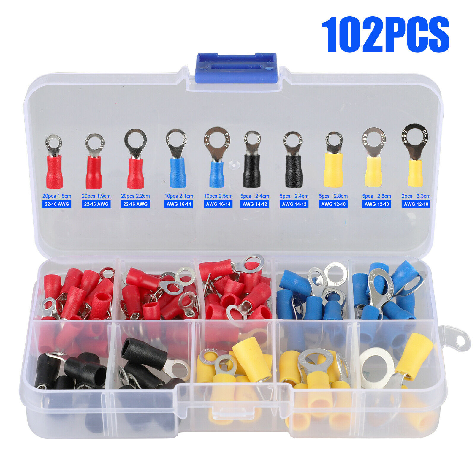 102pc Assorted Insulated Copper Ring Crimp Wire Cord Terminal Connector Kit Set