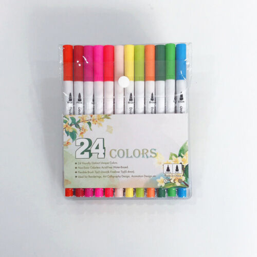 80Pc Multi Colors Dual Tip Brush Pens Water Markers Art Paint Watercolor Pen Set
