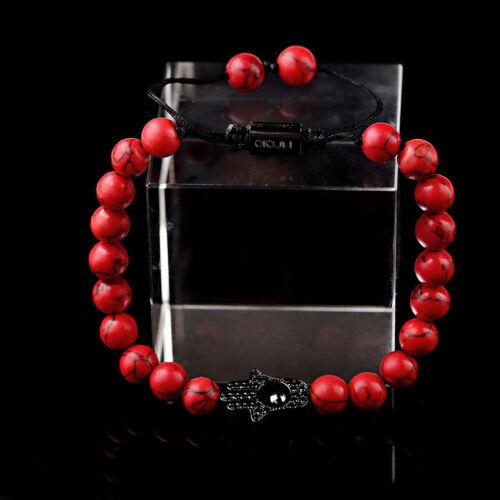 Fashion Noir Hamsa Fatima Main Mauvais œil Perles Rouge Turquoise ajuster Bracelets