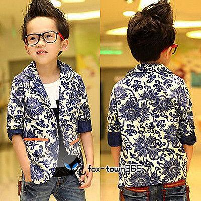 Autumn Child Spring Kids Boys Blue&white Porcelain Out Suit Coat Jackets 3-8Yr