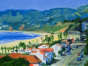 P-C-H-View-Santa-Monica-Beach-12-034-x16-034-Artist-Giclee-Iris-Print-Impressionism