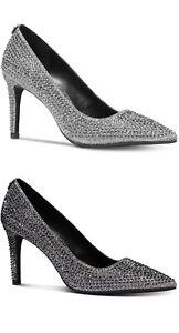 Silver Rhinestones Glitter Flex Heels