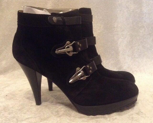 reputable site 2a558 8a0df Nine West Black Suede Desponia Ankle BOOTIES Stiletto BOOTS 12m