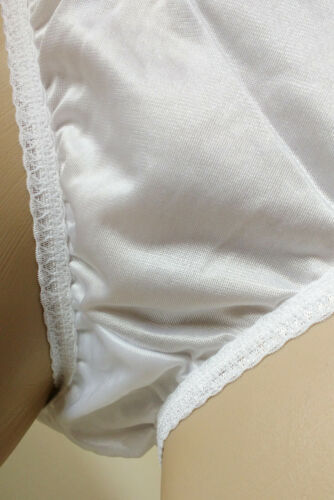 Pretty White 100/% Silky Nylon Vintage Style High Leg Panties Knickers  18 2XL