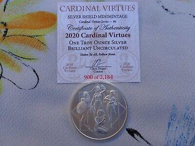 Silver Shield Mini-Mintage 1 oz .999 fine silver round 2020 ZODIAC VIRTUES #7