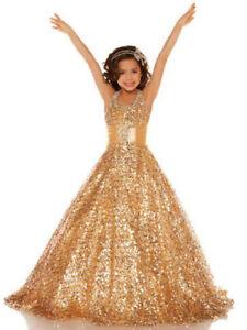 Gold Sequins A Line Flower Girl Dresses Kids Ball Gown Pageant Dress For Teens Ebay
