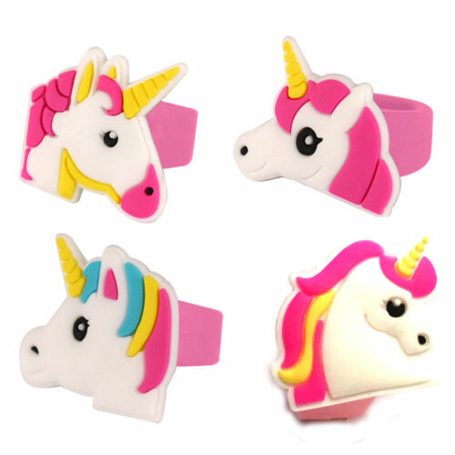 2 UNICORN RINGS GIRLS SILICON RUBBER TOYS FAVORS LOOT BIRTHDAY PARTY BAG FILLERS
