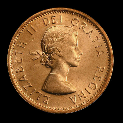 coin from roll 2-coins 1964  Canada   1 cent     UNC