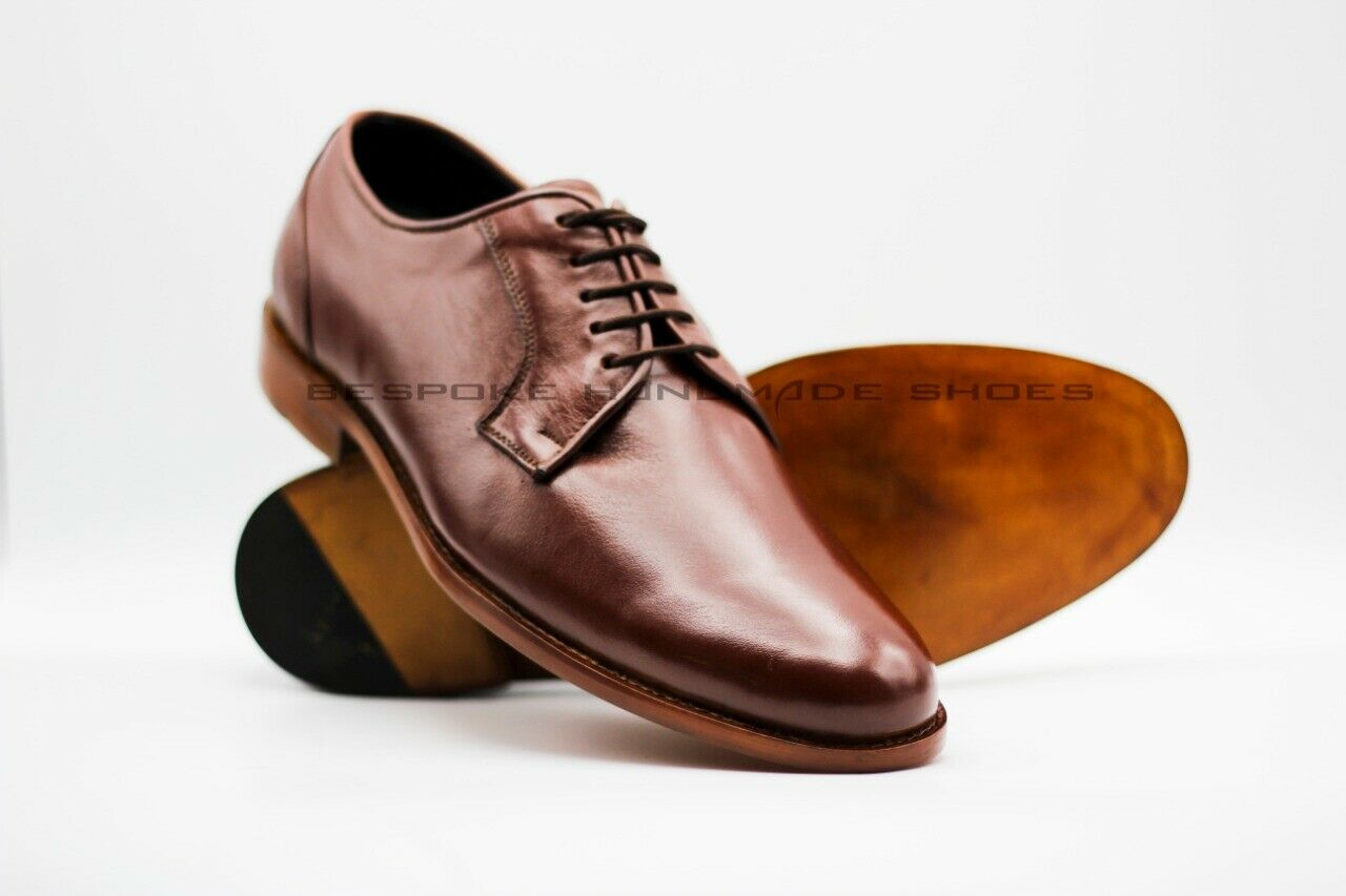 Handmade Men's Genuine Brown Leather Leather Leather Derby Lace-Up Premium Quality shoes 187fab