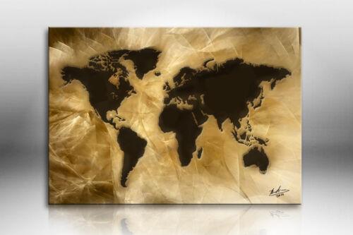 Weltkarte Abstrakt Bilder auf Leinwand Kunst Wandbild Kunstdruck XXL 1013A