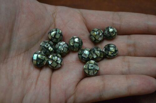 12 PCS ROUND ABALONE SHELL MOSAIC LOOSE BEADING BEAD 10MM #T-867