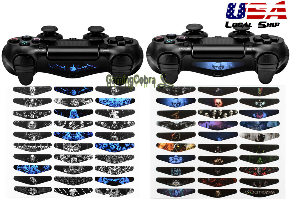 Stickers face led flat light ps4 console gamepad controller bar