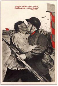 NICE-Color-WW2-Soviet-Russian-Propaganda-Paper-Poster-Men-Kiss-End-of-WAR-BUY