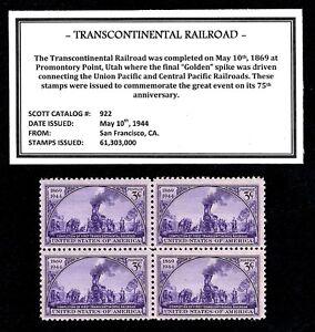 1944-TRANSCONTINENTAL-RAILROAD-Mint-NH-Block-of-Vintage-U-S-Postage-Stamps