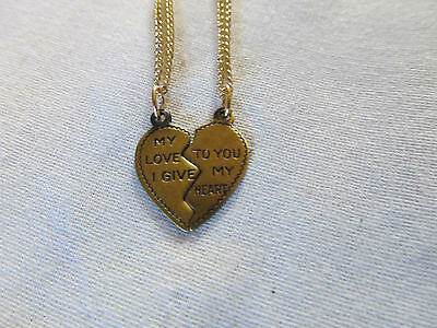 NEW ITEM! Silver or Antique Gold Split Heart Necklace of Love 2pc