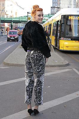 Lady Ruhazati Szöv. Donna Pantaloni Pants Nero Bianco Ziphose 90er True Vintage 90´s-mostra Il Titolo Originale Una Gamma Completa Di Specifiche