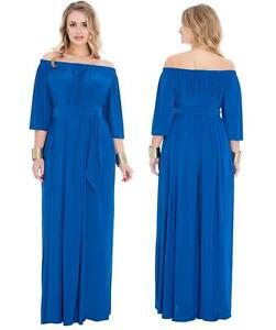 Womens Plus Size Off Shoulder Sexy Bardot Wedding Long Maxi Dress ... 653be70a1c99