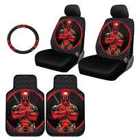 For Vw Deadpool Car Seat Covers Floor Mat Steering Wheel Cover Set