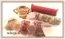 "3.5 "" Brass Cauldron Incense Burner Charcoal and 3 Resin Kit travel FREE SHIP"