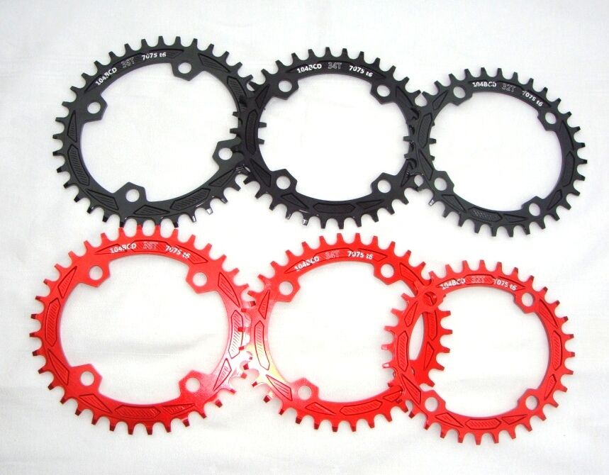 Aluminium Fahrrad Kettenblatt Kettenblätter Oval Chainring BCD104mm 32T 34T 36T 36T 36T 1f5943